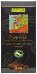 Csokoládé, félédes, kávés, vegán, bio, CH, Rapunzel (100 g)