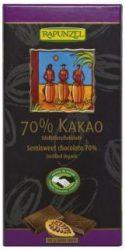 Keserű csokoládé, 70%- os kakaótartalommal, bio, Rapunzel (80g)