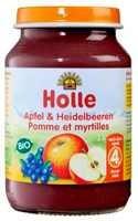 Bébiétel, alma-fekete áfonya gabonával, bio, Holle (190 g)