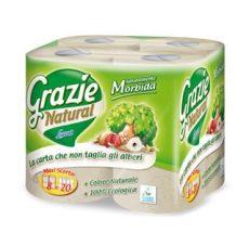 Háztartási toalettpapír (2 rétegű, 400 lapos), öko, Grazie (8 tekercs)