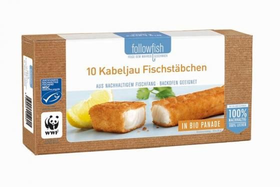 Tőkehal rudacskák bio panírban, fagyasztott, bio, Followfish (250g) (10db/doboz)
